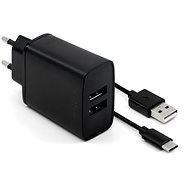 Nabíjačka do siete FIXED Smart Rapid Charge 15 W s 2× USB výstupom a USB/USB-C káblom 1 m čierna - Nabíječka do sítě