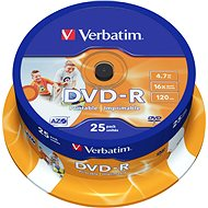 Verbatim DVD-R 16x, Printable 25 ks cakebox - Médium