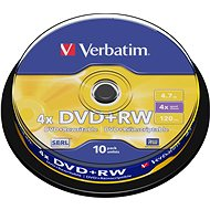Verbatim DVD+RW 4x, 10 ks cakebox - Médium