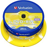 Verbatim DVD + RW 4x, 25 ks cakebox - Médium