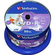 Verbatim DVD+R 16x, Printable 50 ks cakebox - Médium