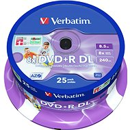 Verbatim DVD+R 8× Dual Layer Printable 25 ks Cake-Box - Médiá