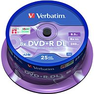 VERBATIM DVD+R 8,5 GB 8× DoubleLayer MATT SILVER spindl 25 pck/BAL - Médium