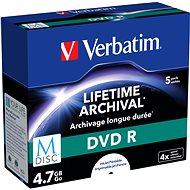 VERBATIM M-DISC DVD R 4× 4,7 GB Inkjet Printable 5 pck/BAL - Médium