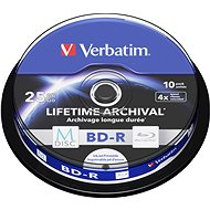VERBATIM M-DISC BD-R SL 25 GB 4× INKJET PRINTABLE spindle 10pck/BAL