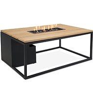 Stôl s plynovým ohniskom COSI – Cosiloft 120 čierny rám/doska drevená - Záhradný stôl