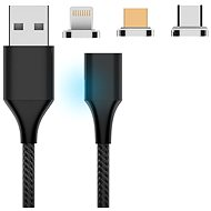 Hishell 3in1 Magnetic Charging Cable (USB-C + Lightning + Micro USB) čierny