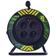 EMOS PVC kábel na bubne s pevným stredom – 4 zásuvky, 25 m, 1,5 mm2 - Predlžovací kábel