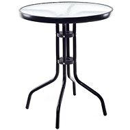 Happy Green Stôl kovový so sklenenou doskou 60 cm, čierny - Záhradný stôl