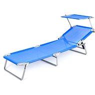 Happy Green Oceľové ležadlo so strieškou modré - Plážové ležadlo