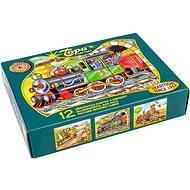 topa drevené kocky kubus - Mašinka 12 ks - Obrázkové kocky
