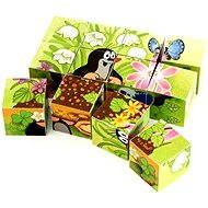Dino drevené kocky kubus - Krtko a vtáčik - Obrázkové kocky