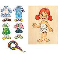 Didaktická hračka Woody - Šnurovacia šatníková skriňa - Dievčatko