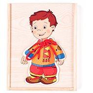 Didaktická hračka Woody - Šnurovací šatník, Chlapček