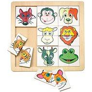 Woody Skladačka - Zvierací hlavičky - Puzzle