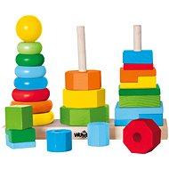 Didaktická hračka Woody Set skladacích veží - Didaktická hračka