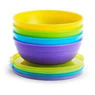 Munchkin - Súprava farebných misiek s viečkami a lyžičkami - Detská jedálenská súprava