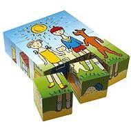 Topa drevené kocky kubus – Psík a mačička 12 ks