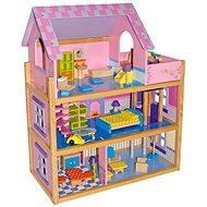 Veľký drevený domček pre bábiky - ružový - Doplnok pre bábiky