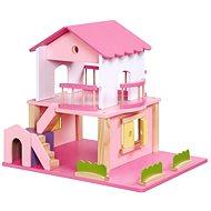 Drevený domček pre bábiky – ružový - Doplnok pre bábiky
