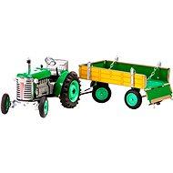 Kovap Traktor s vlečkou na kľúčik zelený - Kovový model