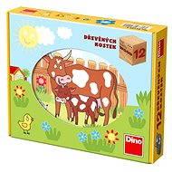 Dino drevené kocky kubus – Domáce zvieratká - Obrázkové kocky