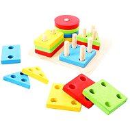 Bigjigs Drevená motorická hračka - Nasadzovanie tvarov na tyče - Didaktická hračka