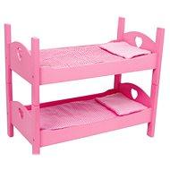 Drevené hračky – Poschodová postieľka pre bábiky ružová - Doplnok pre bábiky