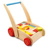 Chodúľka Drevené kocky vo vozíku - Chodítko