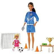 Barbie Futbalová trénerka s bábikou – herná sada Černoška - Bábika