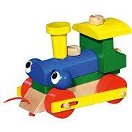 Žmurkajúca mašinka/vlak ťahací - Drevená hračka