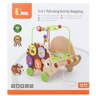 Drevený ťahač ježko s aktivitami 5v1 - Ťahacia hračka