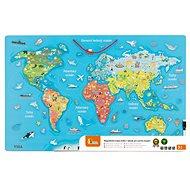 Drevená hračka Drevená mapa sveta s tabuľou - Dřevěná hračka
