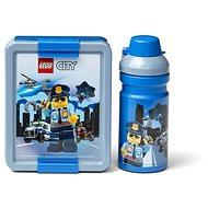 Desiatový box LEGO City svačinová sada (fľaša a box) – modrá