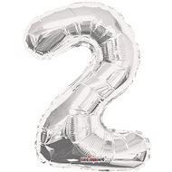"""Fóliový balónik, 35 cm, číslica """"2"""", strieborný - Balóniky"""