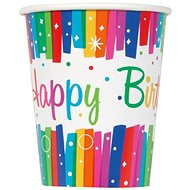 Tégliky papierové, 0,27 l, Happy Birthday, farebné pruhy, 8 ks - Téglik