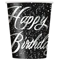 Tégliky papierové, 0,27 l, Happy Birthday, strieborný nápis, 8 ks - Téglik