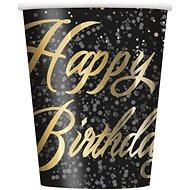 Tégliky papierové, 0,27 l, Happy Birthday, zlatý nápis, 8 ks - Téglik
