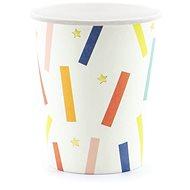 Tégliky papierové, 0,2 l, zlaté hviezdičky, farebné prúžky, 6 ks - Téglik