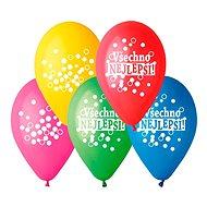 Nafukovacie balóniky, 30 cm, všetko najlepšie, mix farieb, 5 ks - Balóniky