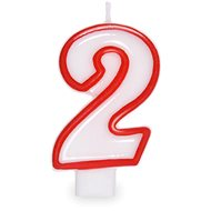 """Sviečka narodeninová, 7,5 cm, číslica """"2"""", biela - Sviečka"""