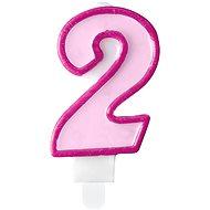 """Sviečka narodeninová, 7 cm, číslica """"2"""", ružová - Sviečka"""