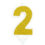 """Sviečka narodeninová, 7 cm, číslica """"2"""", zlatá - Sviečka"""