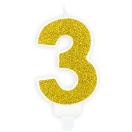 """Sviečka narodeninová, 7 cm, číslica """"3"""", zlatá - Sviečka"""