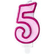 """Sviečka narodeninová, 7 cm, číslica """"5"""", ružová - Sviečka"""