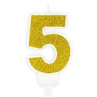 """Sviečka narodeninová, 7 cm, číslica """"5"""", zlatá - Sviečka"""