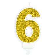 """Sviečka narodeninová, 7 cm, číslica """"6"""", zlatá - Sviečka"""