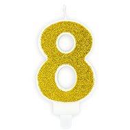 """Sviečka narodeninová, 7 cm, číslica """"8"""", zlatá - Sviečka"""