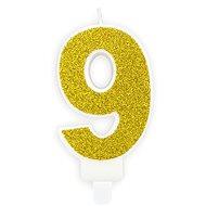 """Sviečka narodeninová, 7 cm, číslica """"9"""", zlatá - Sviečka"""