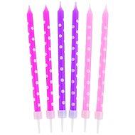 Sviečky tortové, 10cm, so stojanom, bodky, fialové, ružové, 24ks - Sviečka